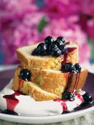 old fashioned brown butter pound cake with blueberry sauce and