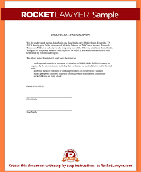 sample of authorization letter sample child care authorization