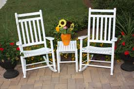 Outdoor Vinyl Rocking Chairs Dixie Seating 3 Piece Slat Seat Porch Rocking Chair And