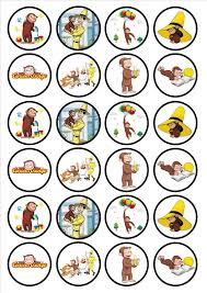 curious george edible premium wafer paper cupcake toppers