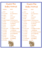 Baby Shower Game Baby Animals Answers