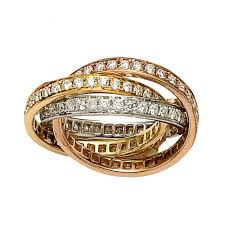 russian wedding band diamond set tri gold russian wedding band