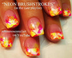 easy nail art for beginners dry brush neon tips diy simple
