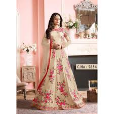 buy cream color latest indian designer anarkali salwar kameez