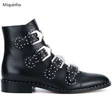 womens leather biker boots sale rock styles black leather rivets buckles ankle booties