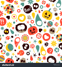 halloween background cat and pumpkin halloween seamless pattern vector background funny stock vector