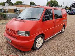 1996 vw t4 transporter 2 4d red and cream rock and roll bed day