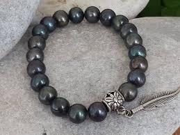 black pearl bracelet images Christmas gift 2019men 39 s black pearl jewelry ocean etsy jpg