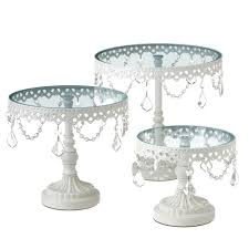 Red Cake Plate Pedestal Set Of 3 White And Crystal Round Cake Stands Cbk Set Of 3 White