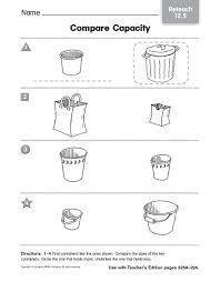 compare capacity reteach 12 5 pre k kindergarten worksheet