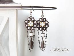 Chandelier Beaded Earrings White Bead 87 Best Handmade Beaded Jewellery Images On Pinterest Beaded