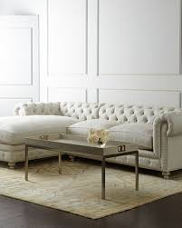 Horchow Chaise Warner Linen Left Chaise Sectional Sofa