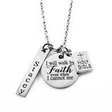 faith necklace engraved jewelry necklaces i will walk by faith necklace