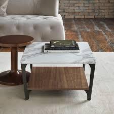 soho square marble u0026 wood coffee table