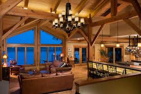 timber frame great room lighting kalamazoo michigan lakeside residence by riverbend timber framing