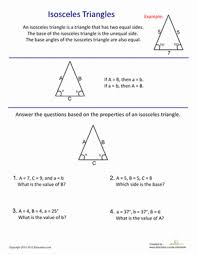 introduction to isosceles triangles worksheet education com