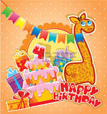 baby birthday card with teddy bear and gift box flying with