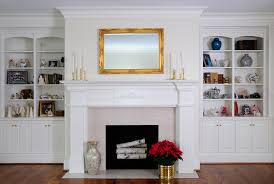 colonial white bookcases with mantle custom cabinetry by ken leech