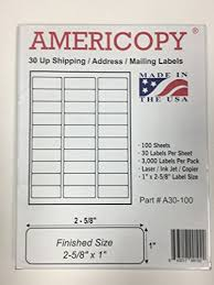 Mailing Label Templates 30 Per Sheet 30 Up Fba Name And Address Mailing Labels 100 Sheets 3 000
