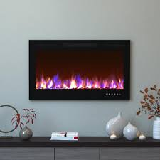 recessed mount electric fireplaces fireplaces the home depot