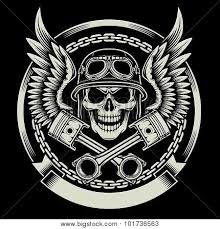 stock photo of vintage biker skull with wings and pistons royalty