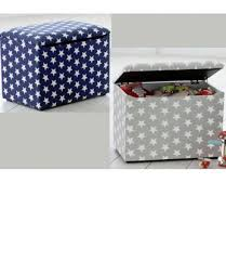 kids star patterned toy box or storage ottoman in grey or blue