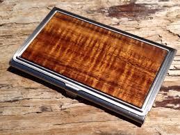 personalized hawaiian curly koa wood business card