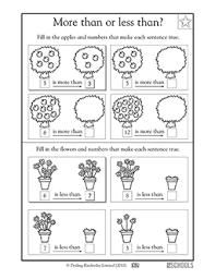 1st grade kindergarten math worksheets more apples less apples