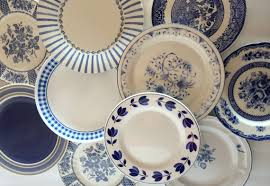 mismatched plates wedding blue white salad plates mismatched stripe floral indigo sky