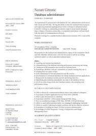 resume format for administration database administrator cv sample maintenance of the databases