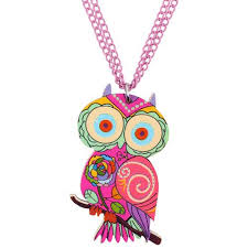 fashion accessories necklace images Acrylic owl necklace bird pendant chain choker animal unique jpg