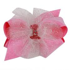 wee ones hair bows ones pink birthday with tulle puff hair bow