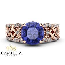 natural tanzanite rings images Tanzanite vintage engagement ring 14k rose gold engagement ring jpg