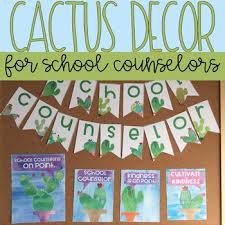 School Counseling Office Decor Watercolor Cactus Decor by Counselor