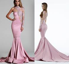 2016 pink evening dresses one sleeves lace illusion see through