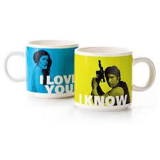 han solo and princess leia stacking mug set mugs u0026 teacups