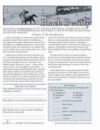 reading comprehension black beauty worksheet education com
