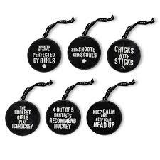 6 slogan hockey puck ornament set