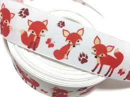 fox ribbon orange fox ribbon fox grosgrain ribbon foxes ribbon fox