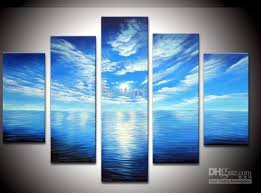blue and white painting 2018 hand painted blue ocean white clouds clear landscape oil