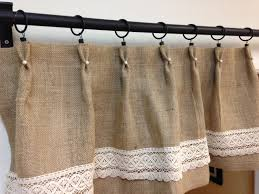 Lace Cafe Curtains Kitchen by Hand Sewn Pearl Valance Lace Burlap Valance Shabby Chic Valance