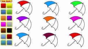 learn colors for kids and color rainbow umbrella coloring page