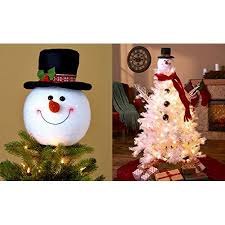 frosty snowman top hat tree topper decor winter