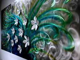 Home Sculpture Decor Floral Art Metal Wall Sculpture Abstract Home Decor Painting