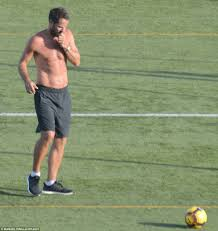 shirtless jamie redknapp plays football with sons daily mail online