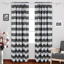 Grey And White Striped Curtains Deconovo Gray Striped Blackout Window Curtains Thermal
