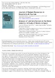 analysis of job satisfaction in the hotel industry a study of