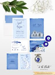 destination wedding invitation set santorini greece greek