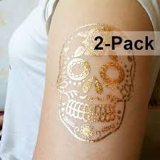 sugar skull tattoos flower skull gold calavera temporary