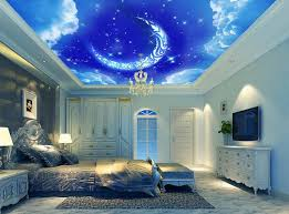 schlafzimmer fototapete benutzerdefinierte 3d decke mond blauen himmel fototapete 3d